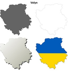 Volyn blank outline map set vector