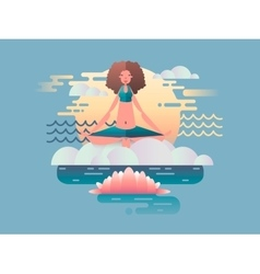 Woman meditation design flat vector