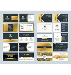 Set of creative golden business card design vector