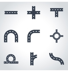 Black road elements icon set vector