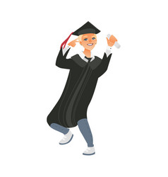 Boy guy in graduation cap and gown holding diploma vector
