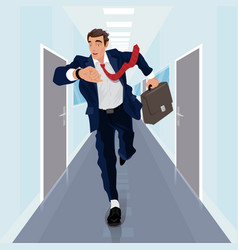 Businessman runs forward along corridor vector