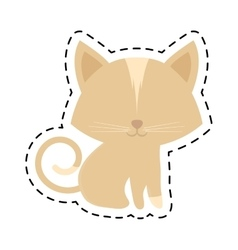 Cat animal domestic furry cut line vector