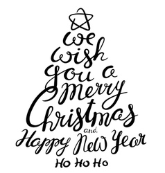 Christmas and New Year lettering calligraphic vector image