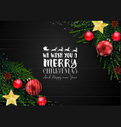 christmas wooden background with decoration vector image vector image