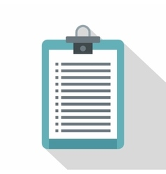 Clipboard with check list icon flat style vector
