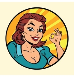 Comic young beautiful woman ok gesture vector