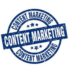 Content marketing blue round grunge stamp vector