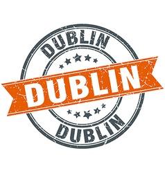 Dublin red round grunge vintage ribbon stamp vector