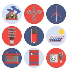 Energy generating systems flat icons set vector