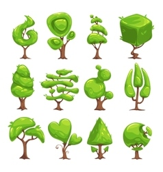 Funny cartoon fantasy shape tree set vector image