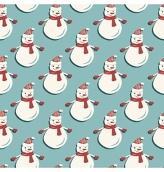 Funny Snowmen Seamless pattern vector image vector image