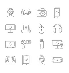 gadgets and computer technology thin line vector image