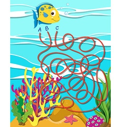 Game template with fish and coral reef vector