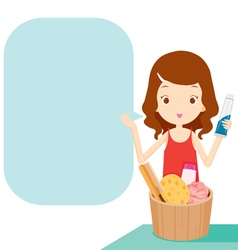 Girl showing product with speech bubble vector