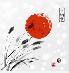 grass on meadow and red sun hand drawn with ink on vector image vector image