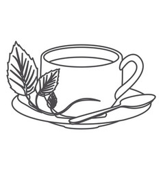 grayscale contour of hot cup of tea vector image vector image