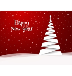 Happy new year greeting card white tree vector