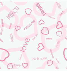 Heart symbols with love passion feeling text vector