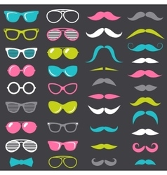 hipster mustache and glasses set vector image vector image
