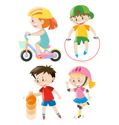 kids doing different types of exercises vector image