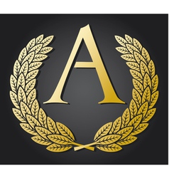 letter A and gold laurel wreath gold letter A vector image