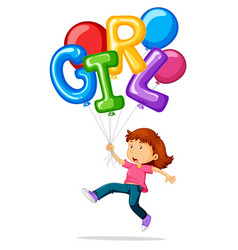 little girl and balloons for word girl vector image