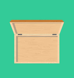 Open wooden box top view isolated casket vector