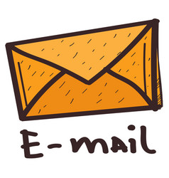 Paper envelope icon with a black outline on a vector