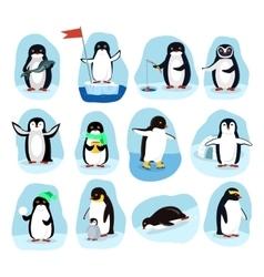 Penguins daily activities posters cartoon set vector