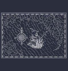 Pirate treasure map with sailboat and compass vector