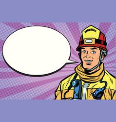 Portrait of a smiling fireman comic book bubble vector