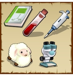 Scientific chemistry experiments with sheep vector