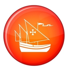 Ship of Columbus icon flat style vector image