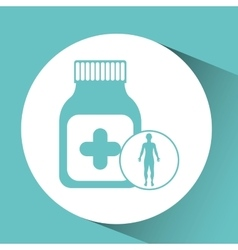 silhouette man health bottle medicine icon vector image vector image