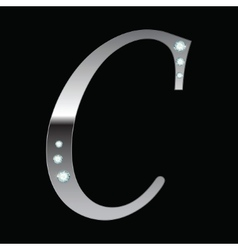 silver metallic letter C vector image