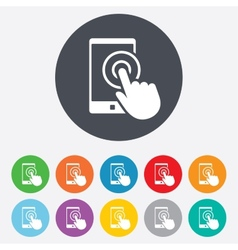 Touch screen smartphone sign icon hand pointer vector
