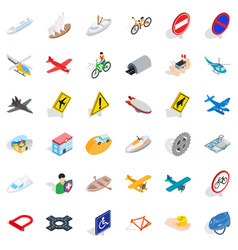 Transportation icons set isometric style vector