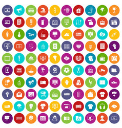 100 tv icons set color vector