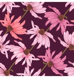 Hand drawn seamless pattern with echinacea flowers vector