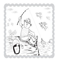 Boy fisherman vector