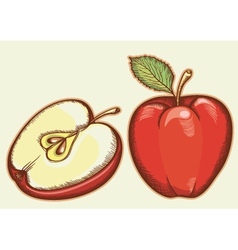 Red fresh apples vector