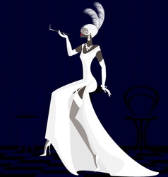 smoking lady in white vector image