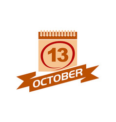 13 october calendar with ribbon vector image