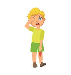 Boy with bleeding scratched kneesick kid feeling vector