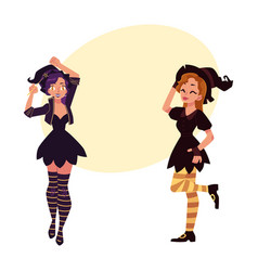Two girls women in pointed hats witch halloween vector