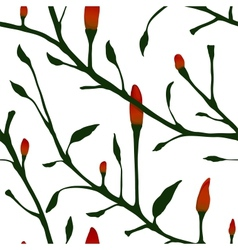 Red chilli pepper plant seamless pattern vector