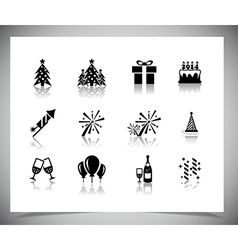 Set of black new year icons vector