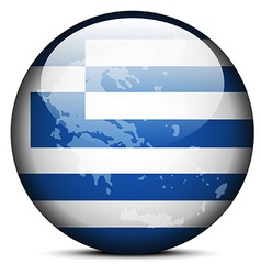 Map on flag button of hellenic republic greece vector