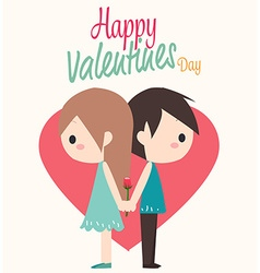 Couple with heart and rose vector